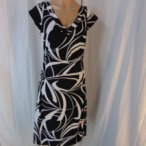 WHBM Jersey Knit Double V Neck Dress 10 Ruched Sid